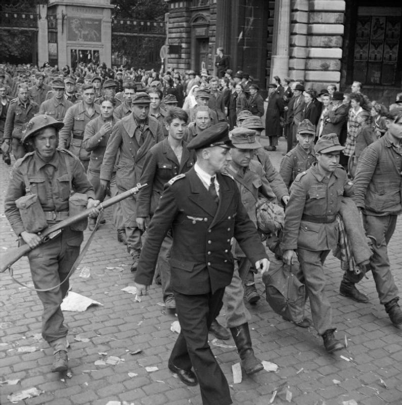 A3 German prisoners being paraded through the streets of Antwerp, 5 September 1944.