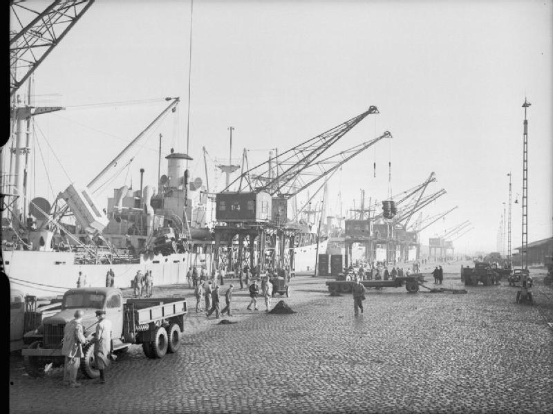 Ships unloading at Antwerp Nov1944